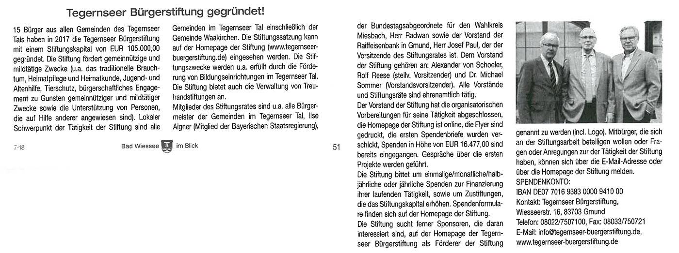 Beitrag in Bad Wiessee im Blick vom Juli 2018: Tegernseer Bürgerstiftung gegründet