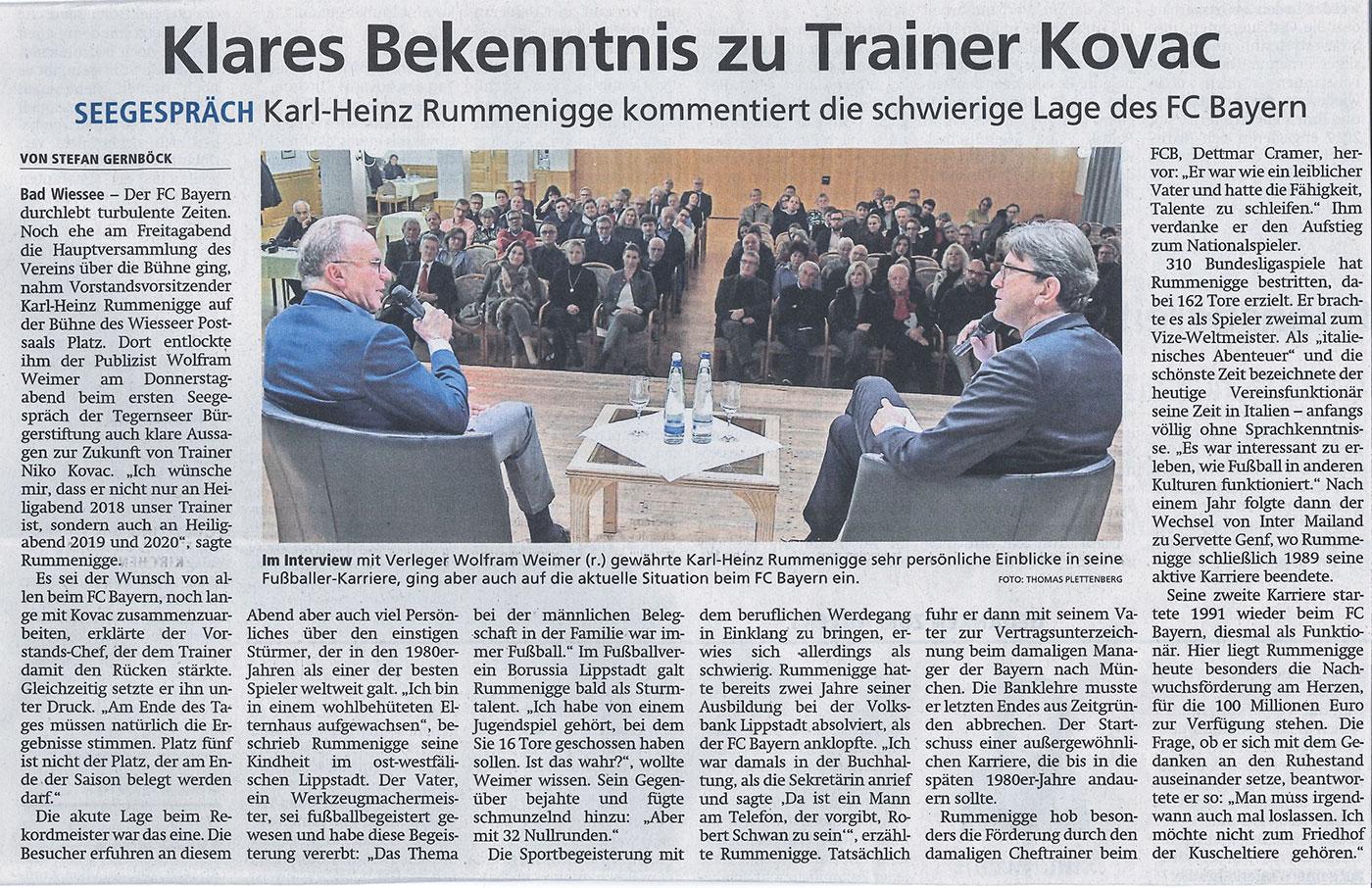 Beitrag in der Tegernseer Zeitung vom 1.12.2018: Klares Bekenntnis zu Trainer Kovac